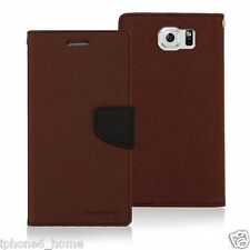 Genuine MERCURY Goospery Brown & Black Folio Flip Case Cover For Galaxy S6 Edge