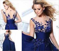 NEW Dress Long Wedding Applique Evening Prom Gown Cocktail Party Formal Blue