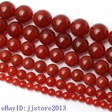 2-20mm Smooth Natural Red Agate Round Shape DIY Gemstone Loose Beads Strand 15""