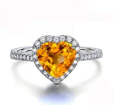 18k White Gold Filled Citrine CZ Zircon yellow heart Ring lady ring R17k