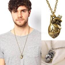 Hot Retro 3D Anatomical Human Hollow Heart Pendant Necklace Sweater Chain MKLG
