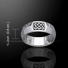 Geometric Celtic Knotwork .925 Sterling Silver Ring by Peter Stone