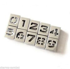Wholesale Alloy Number 0-9 Slide beads Charm Fit 8mm Wristband Belt Pet Collar