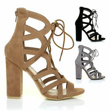 NEW!! Womens Lace Up Block High Heels Ghillie Peep Toe Ladies Sandals Shoes Size