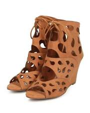 New Women Nature Breeze Liam Suede Peep Toe Teardrop Gladiator Wedge Sandal Size