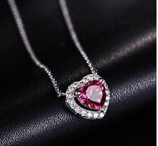 18K White Gold GP red diamond Austrian Crystal lady Heart Necklace Pendant N245a