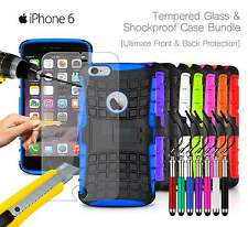 Apple iPhone 6 - Shockproof Grip Case Cover, Ret Pen & Tempered GLASS