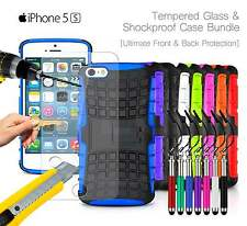Apple iPhone 5S - Shockproof Grip Case Cover, Ret Pen & Tempered GLASS