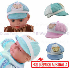 Newborn New Born Baby Girl Boy Soft Brim Visor Cotton Stretch Hat Cap TEDDY BEAR