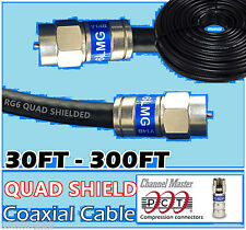 RG6 Quad PCT F Black 30 - 300 Ft Coaxial Coax Cable Wire Satellite HD Antenna TV