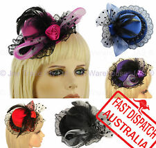Racing Cocktail Party Race Feather Mini Top Hat Fascinator Clip CHECK BOW LACE
