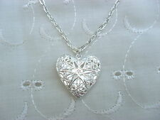 1 X SILVER PLATED FILIGREE HEART LOCKET PENDANT 18' NECKLACE BIRTHDAY WEDDING