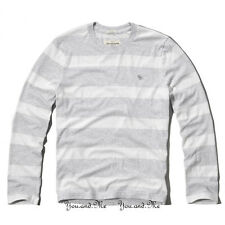 NEW ABERCROMBIE & FITCH for MEN * A&F Panther Gorge L/S Tee Lt Grey Stripe M-XXL
