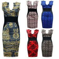 New Womens Sleeveless V Neck Contrast Panel Stretch Bodycon Midi Dress Size 8-18