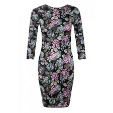 NEW LADIES WOMENS 3/4 SLEEVES FLORAL PRINT STRETCH BODYCON DRESS SIZE 8-14