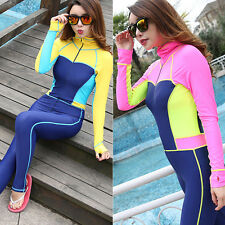 Woman Long Sleeve Full Body Surfing Suit Rash Guards Jumpsuit Dive Skin Stinger