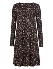 M&S BLACK FLORAL JERSEY SWING DRESS SIZE 6 - 22 NEW FIT AND FLARE TUNIC