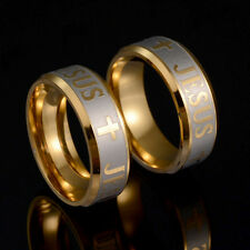 Women Men Gold Stainless Steel Ring Cross Wedding Band Rings Jewelry Luxury Hot