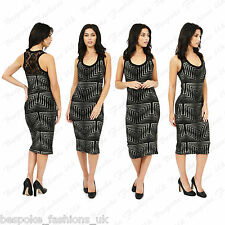 Ladies Women's Geometric Print V Neck Bodycon Stretch Lace Back Midi Dress 8-14