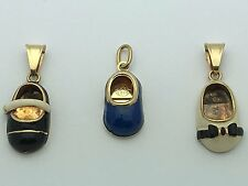14K Yellow Gold Baby/Child Shoe Enamel Charm Pendant (Available in 3 Colors)