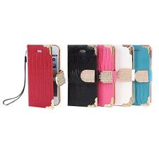 Luxury Diamond Wallet Look PU Leather Flip Skin Case Cover For Apple iPhone 5 5s