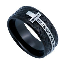 John 3:16 Black Cross Ring, JOHN 3:16 Bible Verse, Stainless Steel Diamond Shape