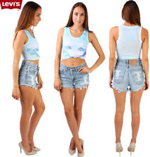 Vintage Levis High Waisted Frayed Women Denim Shorts Ripped Size 6-18