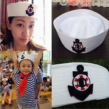 White Sailor Hat Boat Anchor Embroidery Costume Party Cosplay Sailors Navy Cap