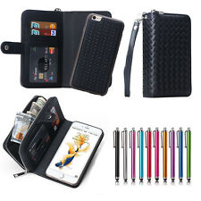 Magnetic PU Leather Flip Zipper Wallet Card Slot Case Cover For iPhone & Samsung