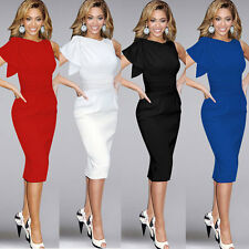 Sexy Women OL Ruffle Sleeve Ruched Bodycon Party Cocktail Evening Pencil Dress
