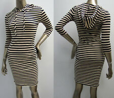 "Striped 3/4"" Sleeve Hoodie Hoody Bodycon Mini Dress with Kangaroo Pocket Taupe"