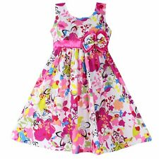 Girls Dress Butterfly Flower Print Bow Cotton Party Casual Kids Clothing 4-12T