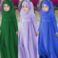 3PCS Kids Girls Abaya Muslim Kaftan Islamic Child Hijab Burquas Arab Maxi Dress