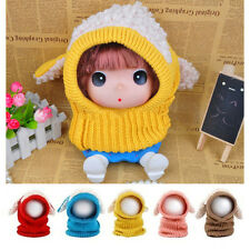 New Winter Baby Warm Cute Dog Knitted Crochet Cloak Hooded Hat Cap Scarf Set TI