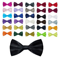 New Pure Plain Bowtie Polyester Pre Tied Wedding Bow Tie Hot FN