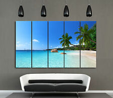 Beach/Palm Trees/Seascape ready to hang 5 panel MDF wall art PVC canvas mounted