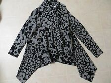 Bobeau One Button Wrap Knit Cardigan Sweater Jacket Gray Black Geometric S NWT