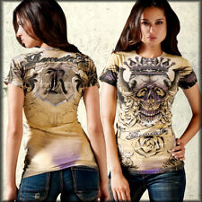 Remetee Skull Angel Wings Gold Crown Tattoo Rhinestones Women T-Shirt Yellow NEW