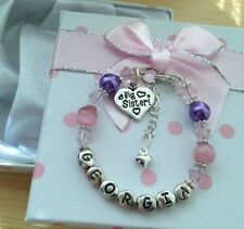 personalised girls big sister little sister charm bracelet Any name or age