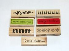 Lot of 7 Rubber Stamps Holiday Christmas Theme Borders Snowflakes Pinetrees