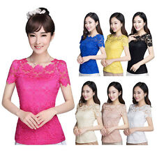 Korean Style Fashion Lace Lady Shirts Short Sleeve Womens Tops Blouses