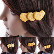 Women Girl Lovely Simulation Biscuit Hair Clips Hairpins Bobby Pins Hair Fashion