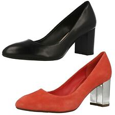 Ladies Clarks Slip On Leather Heeled Court Shoes Blissful Cloud