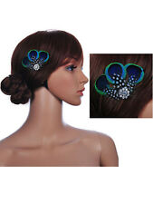 Ladies Grils Fashion Retro Peacock Feather Hair Clip Fascinator for Party