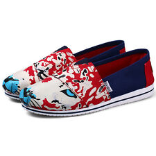 Women Girls Flower Slip-on Casual Flats Shoes Solid Canvas Leisure Sneakers New