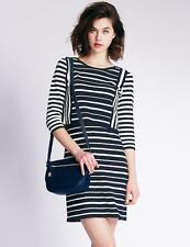 PER UNA NAVY STRIPE KNITTED DOUBLE LAYER DRESS SIZE 20 22 BNWT £55 M&S