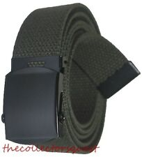 "NEW 1.5"" WIDE OLIVE GREEN ADJUSTABLE CANVAS MILITARY WEB GOLF BELT BLACK BUCKLE"