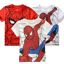 Kids Girls Boys Casual Superhero Spider-Man Tee Tops Short Sleeve T-Shirts 2-7Y
