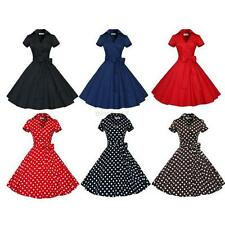 Women 50s Housewife Vintage Short Sleeve Pinup Prom Rockabilly Party Swing Dress