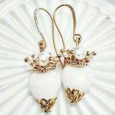 White Czech glass pearl Sacred heart earrings, Gold Silver or antique bronze